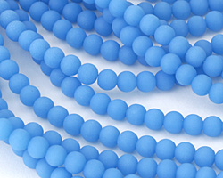 Opaque Blue Opal Recycled Glass Round 6mm