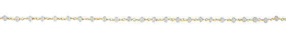 Aquamarine Faceted Rondelle 4mm Gold (plated) Bead Chain