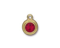 TierraCast Gold (plated) Stepped Bezel Drop w/ Siam Ruby Crystal 12x17mm