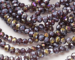 Amethyst AB Crystal Faceted Rondelle 4mm