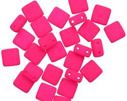 Czech Glass Bright Neon Pink 2-Hole Tile 6mm