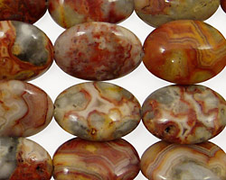 Crazy Lace Agate (red) Flat Oval 18x13mm