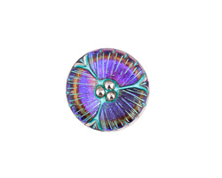 Czech Glass Electric Purple w/ Turquoise Wildflower Button 18mm