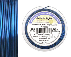 Artistic Wire Silver Plated Silver Blue 18 gauge, 20 feet