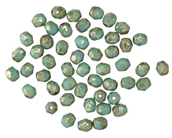 Czech Glass Turquoise Light Picasso Fire Polished Round 4mm