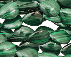 Malachite Flat Teardrop 15x12mm
