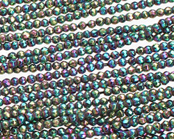 Rainbow Hematite (plated) Faceted Round 2mm