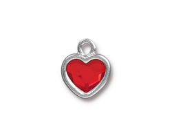 TierraCast Rhodium (plated) Heart Drop w/ Light Siam Crystal 13x16mm