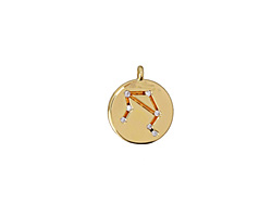 Gold (plated) w/ Crystals Libra Constellation Charm 11x13mm