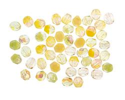Czech Fire Polished Glass Yellow Mix Round 4mm