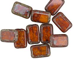 Czech Glass Amber Picasso Rectangle 12x8mm