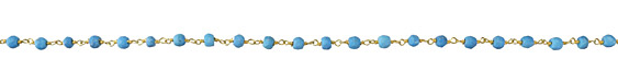 Turquoise (syn.) Faceted Rondelle 4mm Gold (plated) Bead Chain