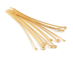 "Gold (plated) Eye Pin 2"", 21 gauge"