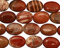 Red Bend Jasper Flat Oval 14x10mm