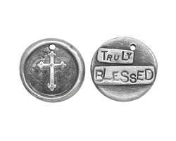 "The The Lipstick Ranch Pewter ""Truly Blessed"" Cross Wax Seal Charm 20mm"