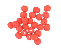 Czech Fire Polished Glass Matte Coral Round 5mm