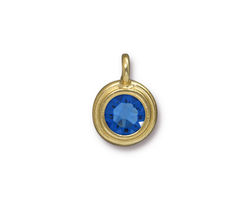 TierraCast Gold (plated) Stepped Bezel Charm w/ Sapphire Crystal 12x17mm