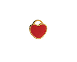 Cherry Red Enamel Gold (plated) Stainless Steel Heart Charm 11x12mm