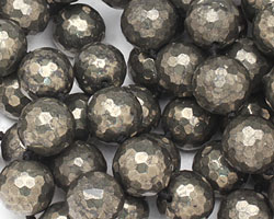 Golden Pyrite (silver tone) Faceted Round 16mm