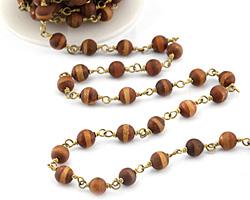 Tibetan (Dzi) Agate Matte Rust Banded Round 6mm Brass Bead Chain