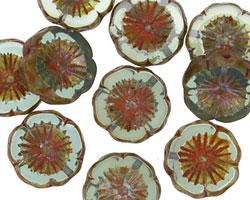 Czech Glass Peruvian Opal Picasso Hibiscus Coin 15mm