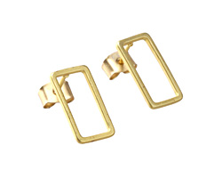 Satin Hamilton Gold (Plated) Open Rectangle Post Earring w/Back