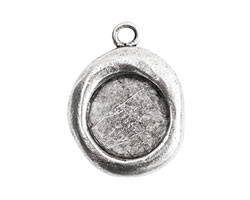 Nunn Design Antique Silver (plated) Crest Seal Bezel Pendant 19x25mm