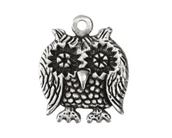 Greek Pewter Friendly Owl Charm 25x30mm