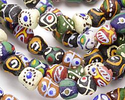 African Handpainted Multi Powder Glass (Krobo) Beads 9-11x10-12mm