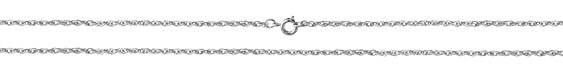 Imitation Rhodium (plated) Finished Small Rope Chain 18""