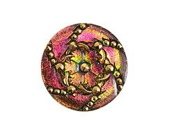 Czech Glass Pink & Green w/ Gold Daisy Spiral Button 31mm