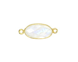 Moonstone (rainbow) Faceted Oval Link in Gold Vermeil 24x9mm