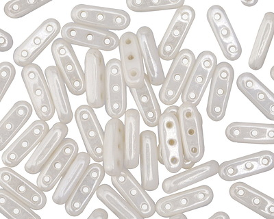 CzechMates Glass Luster Opaque White 3-Hole Beam 3x10mm