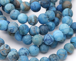 Larimar Blue Crazy Lace Agate (matte) Round 8mm