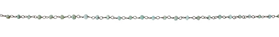 Brazil Amazonite Faceted Rondelle 3mm Antique Silver (plated) Bead Chain