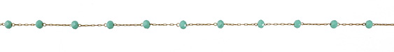 Zola Elements Green Turquoise Crystal 4mm & Delicate Drawn Cable Brass Bead Chain