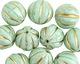 Czech Glass Mint Green w/ Gold Melon Round 14mm