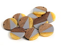 Walnut Wood & November Day Resin Coin Focal 28mm