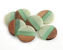Walnut Wood & Beach Glass Resin Banded Coin Focal 28mm