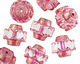 Czech Glass Crystal w/ Pink & Gold Etched Crown Bead 13x15mm
