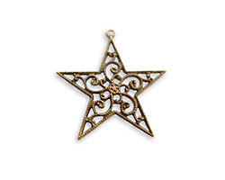 Vintaj Natural Brass Filigree Star Drop 25x26mm