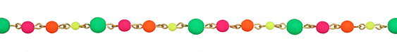 Czech Glass Round Neon Party Gold (plated) Bead Chain
