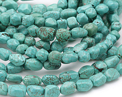 Turquoise Magnesite Tumbled Faceted Nugget 6-15x7-13mm