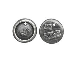 """The Lipstick Ranch Pewter """"My Bliss"""" Music Note Wax Seal Charm 17mm"""