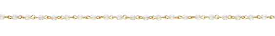 Czech Fire Polished Crystal Faceted Round Gold (plated) Bead Chain