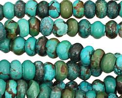 Chinese Turquoise Irregular Rondelle 7-9mm