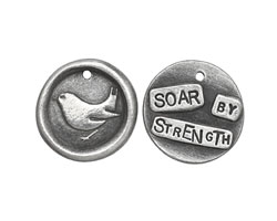 """The Lipstick Ranch Pewter """"Soar By Strength"""" Bird Wax Seal Charm 20mm"""