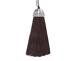 Zola Elements Espresso Thread Tassel w/ Antique Silver (plated) Lotus Tassel Cap 20x75mm