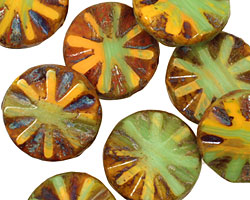 Czech Glass Citrus Zest Flower Window Coin 18mm