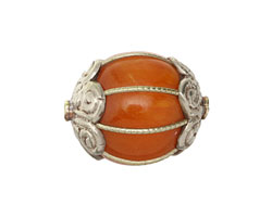 Tibetan Resin Amber & White Brass Bead 23x19mm